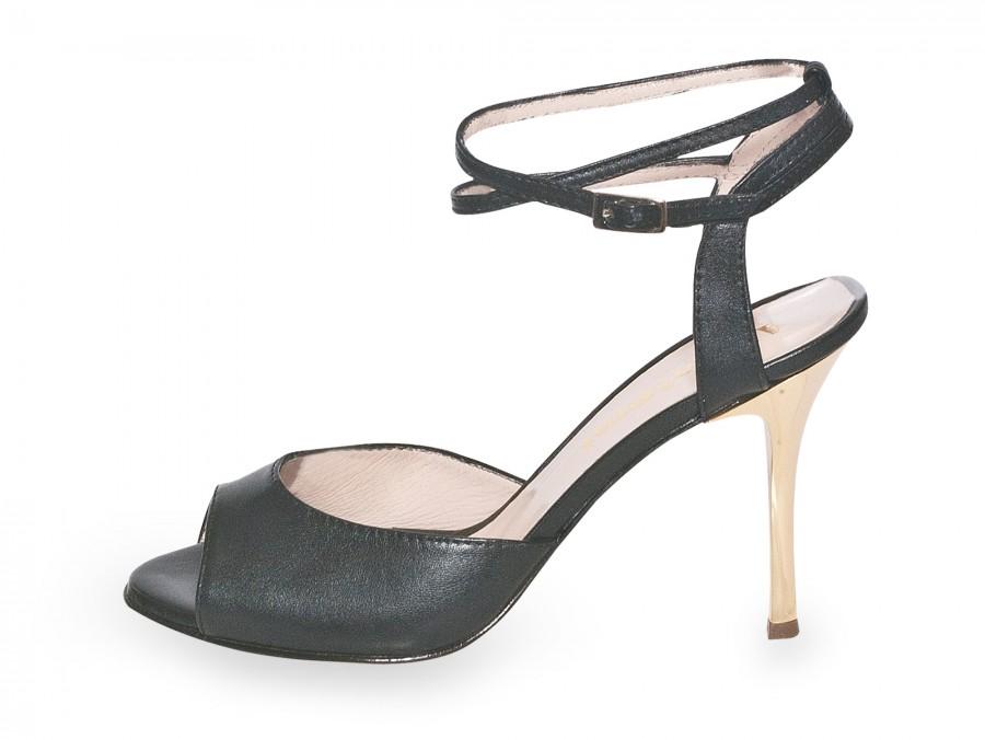 Iris Double Strap Black Nappa Leather