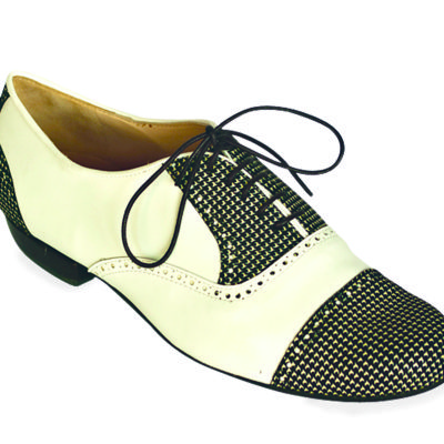 Arrabal White and Black Gingham Leather