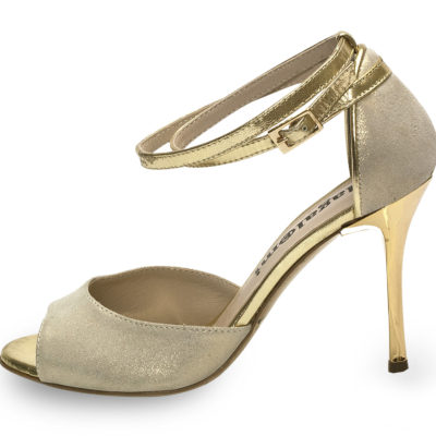 Lily Double Strap Glossy Beige and  Gold Leather