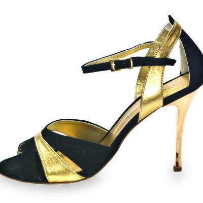 Sunderland Glossy Black & Gold Leather