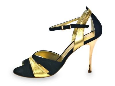 Sunderland Glossy Black & Gold Leather