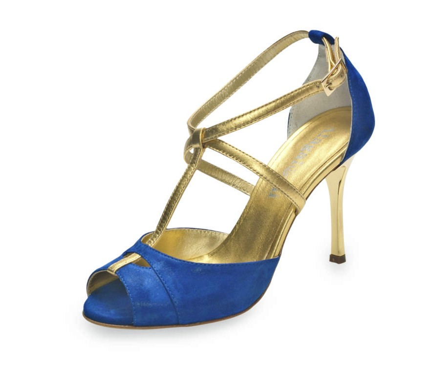 Diez Glossy Blue and Gold Leather