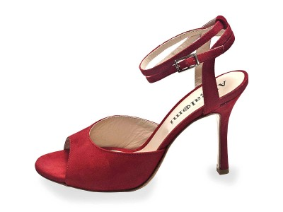 Iris Double Strap Deep Red Glossy  Leather