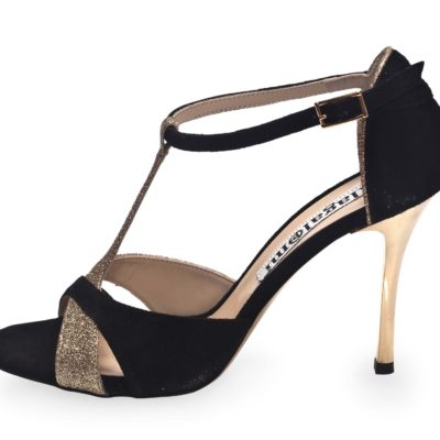 Mariposa Black Suede and Platinum Glitter Leather