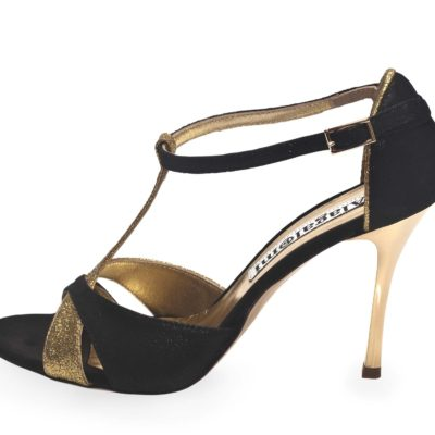 Mariposa Black Suede and Gold Glitter Leather