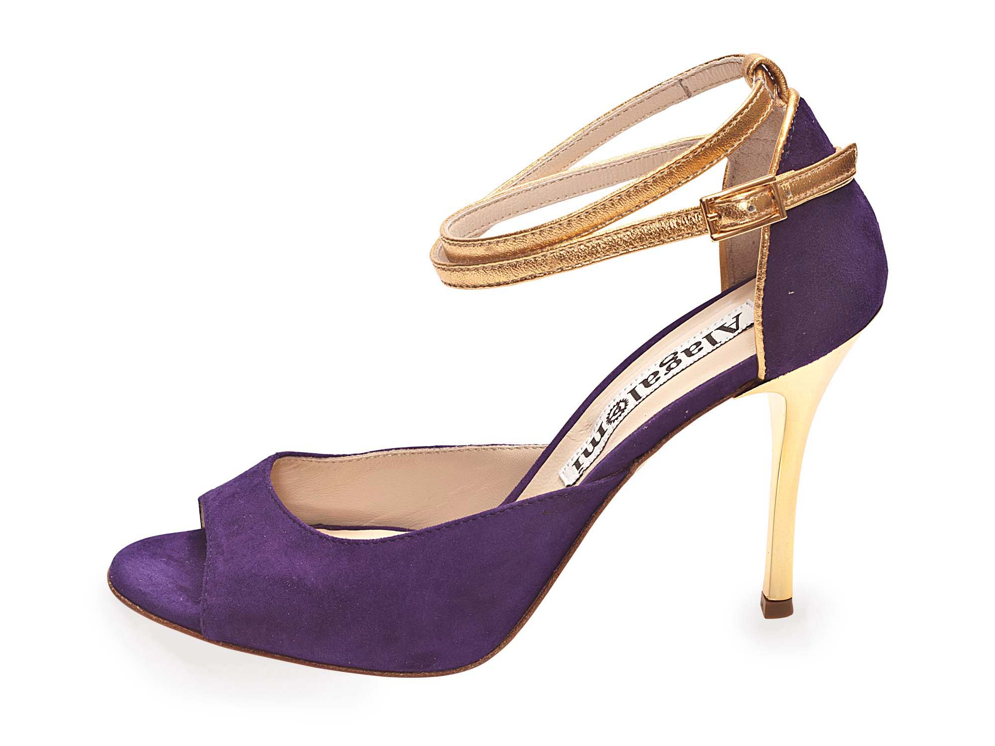 Flor Double Strap Deep Purple and Gold Leather