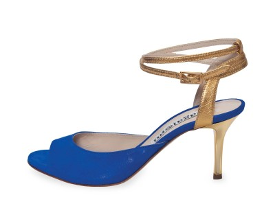 Gloria Double Strap Glossy Blue and Gold Leather