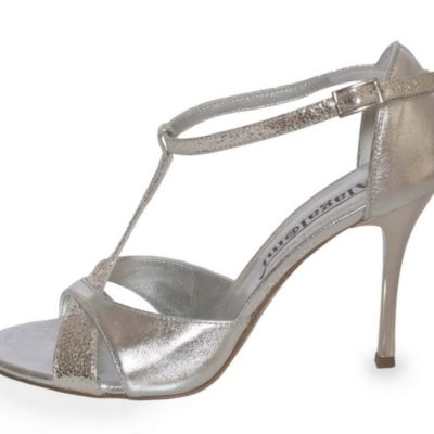 Mariposa Silver Metallic Combination Leather