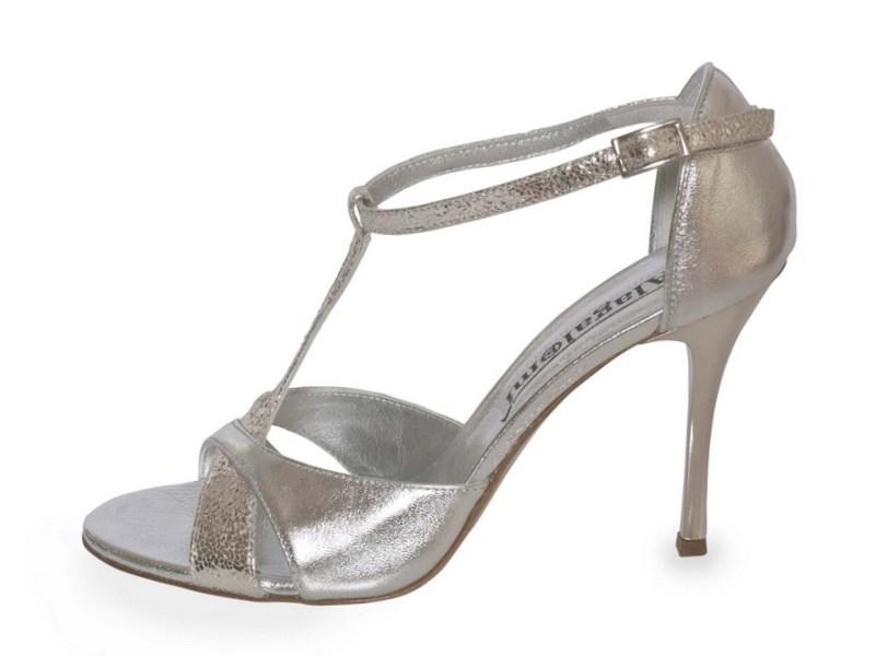 Mariposa Silver Metallic Combination Leather
