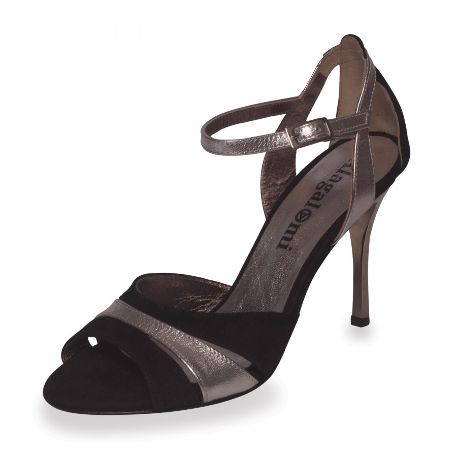 Sunderland Glossy Black & Silver Leather