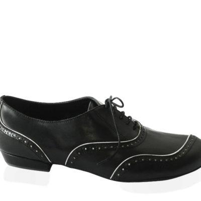 Asimetrico Black Nappa Leather with White Piping