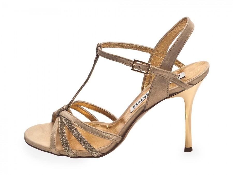 Estrella in Crema and Gold Glitter Leather