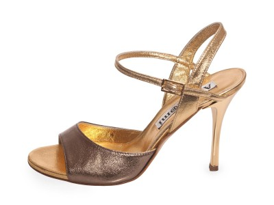 Maia Single Strap Gunmetal and Gold Leather