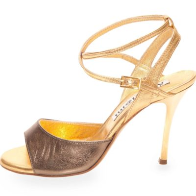 Maia Double Strap Gunmetal and Gold Leather