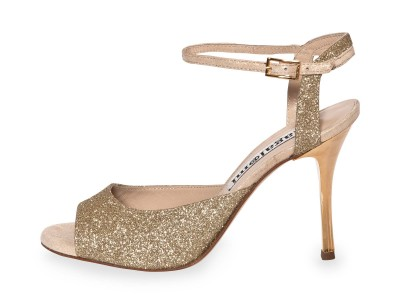 Gloria Single Strap Platinum Glitter and Crema