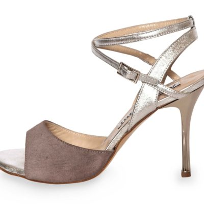 Maia Double Strap Mink and Silver Leather