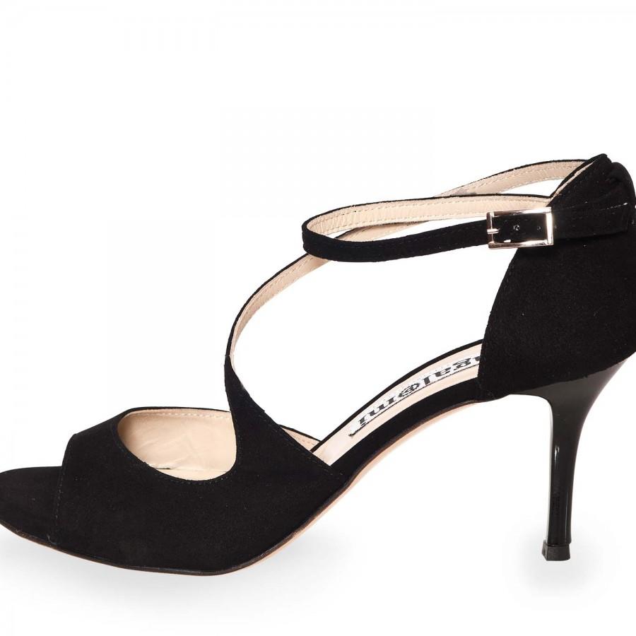 Venus Black Suede Black Heels