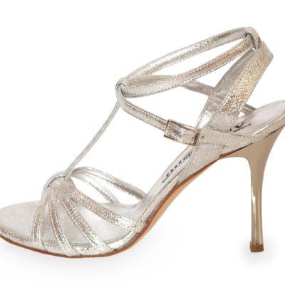 Estrella Double Strap Silver Saffiano Leather