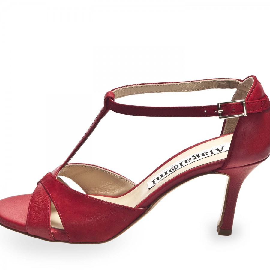 Mariposa Glossy Red and Nappa Red Combination Leather