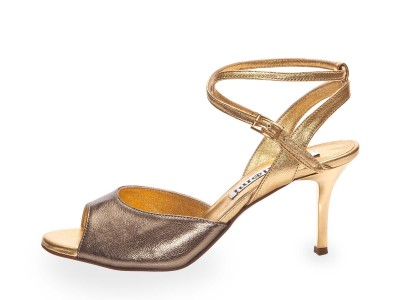 Rosa Double Strap Gunmetal Metallic and Gold Leather