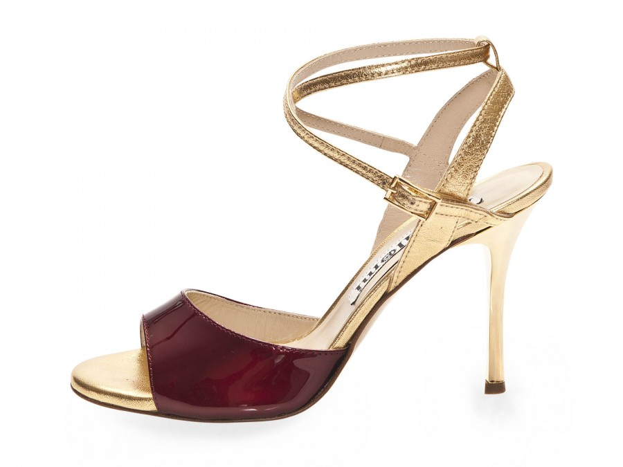 Maia Double Strap Bordeaux Pearlescent Patent and Gold Leather