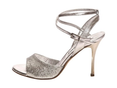 Maia Double Strap Silver Glitter and Metallic Leather