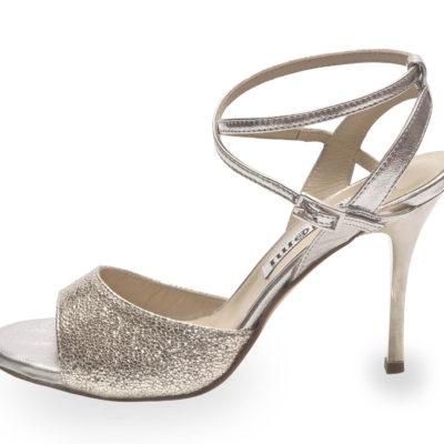 Maia Double Strap Silver Allure and Silver Metallic Leather