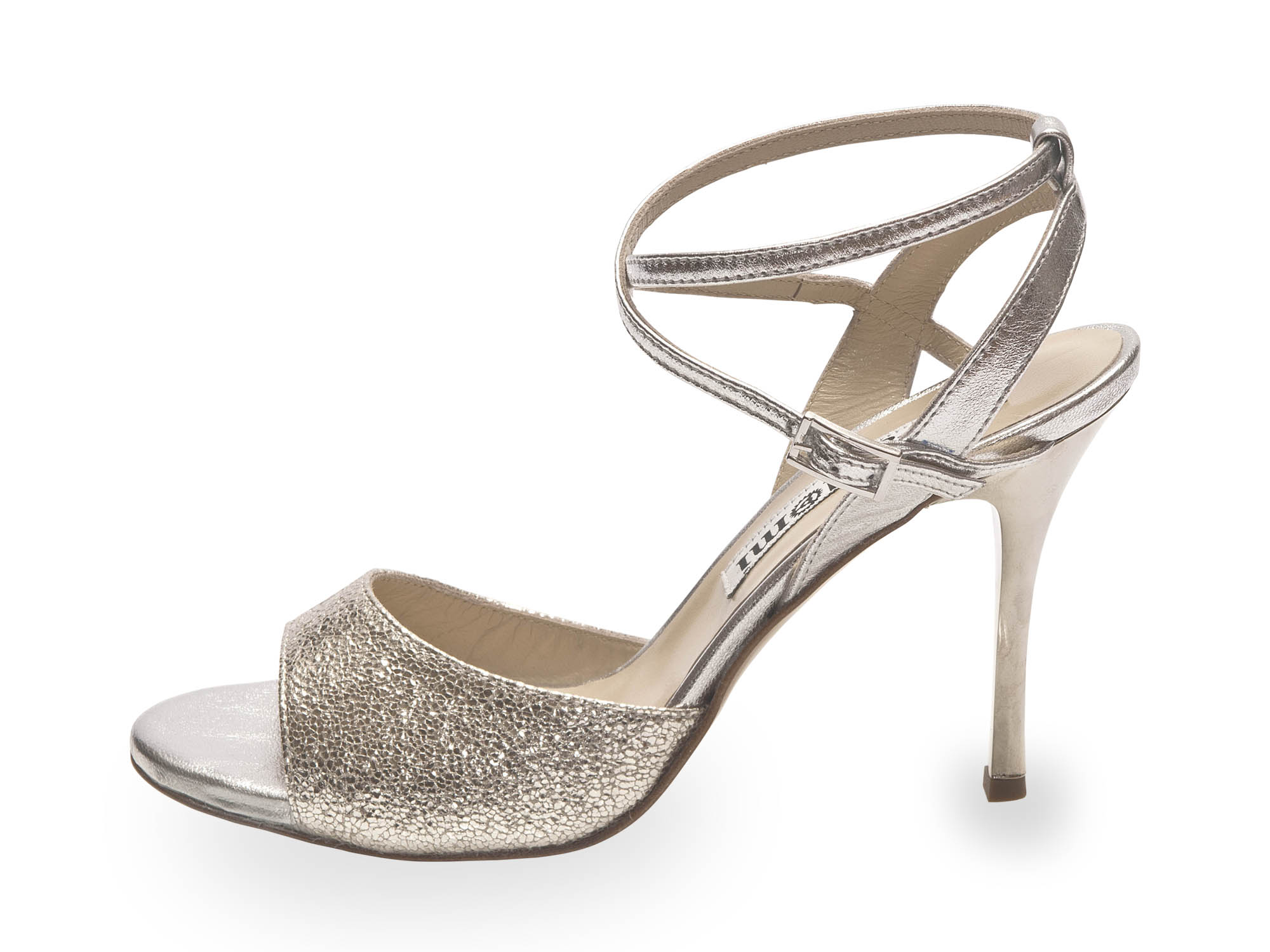 Maia Double Strap Silver Allure and Silver Metallic Leather