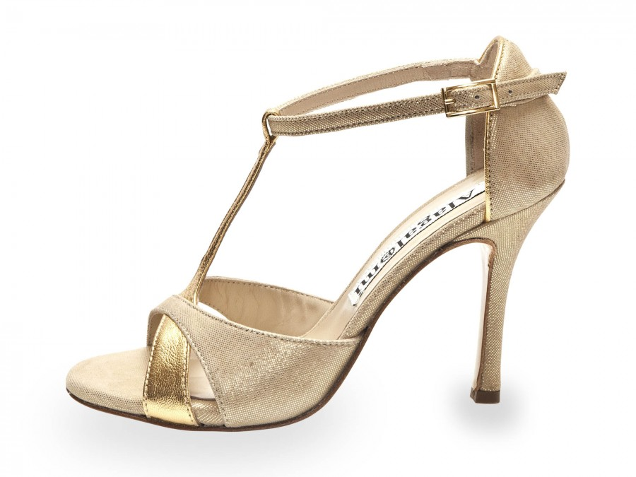 Mariposa Gold Metallic with Soft Gold Lame Leather Combination