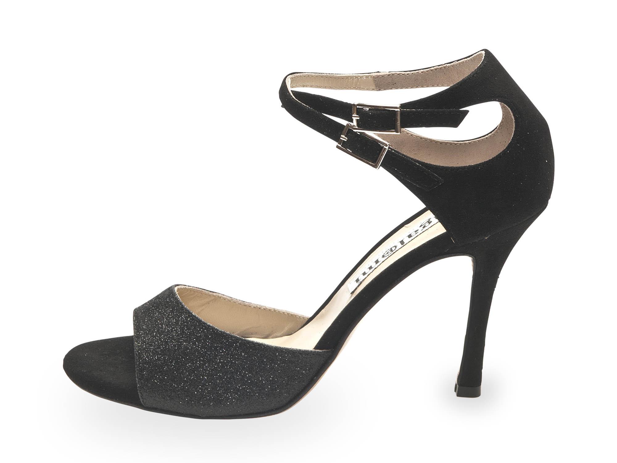 Soho (B) Black Glitter and Black Suede