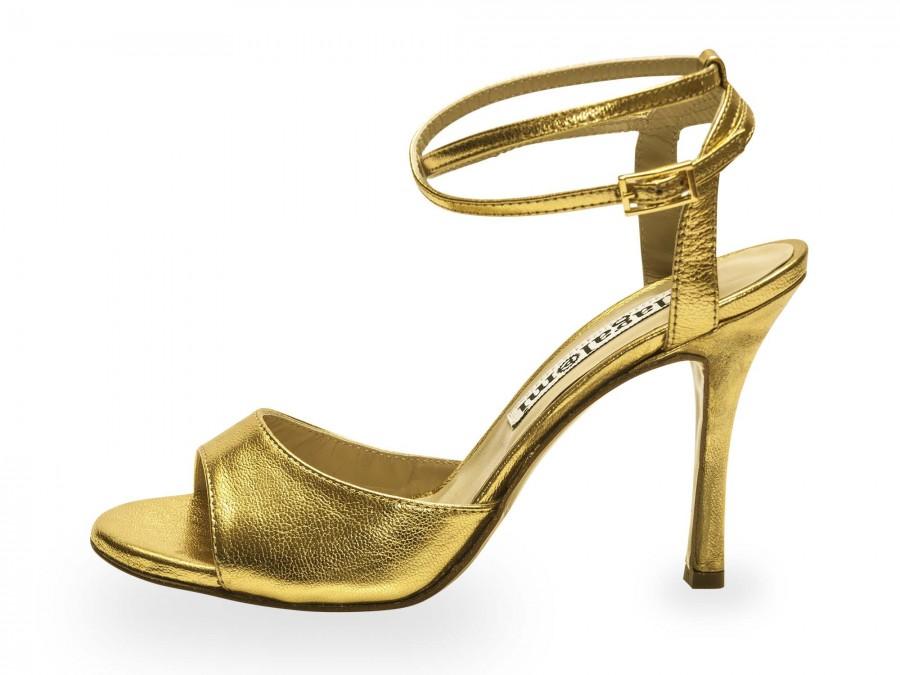 La Maquina Double Strap Gold Metallic Leather