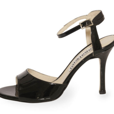 La Maquina Single Strap Black Patent Coated Heel Leather