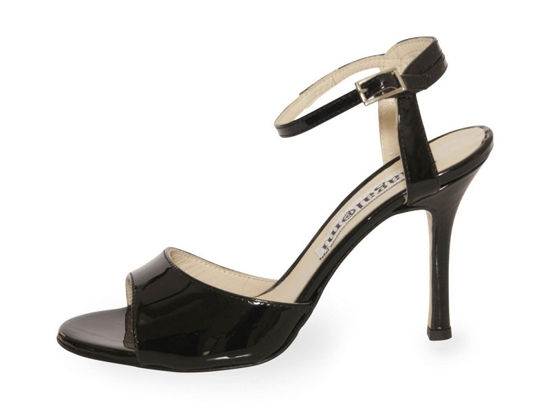 La Maquina Single Strap Black Patent Coated Heel Leather