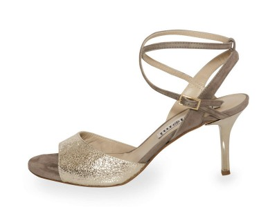 Maia Double Strap Silver Allure Upper and Mink Suede Straps