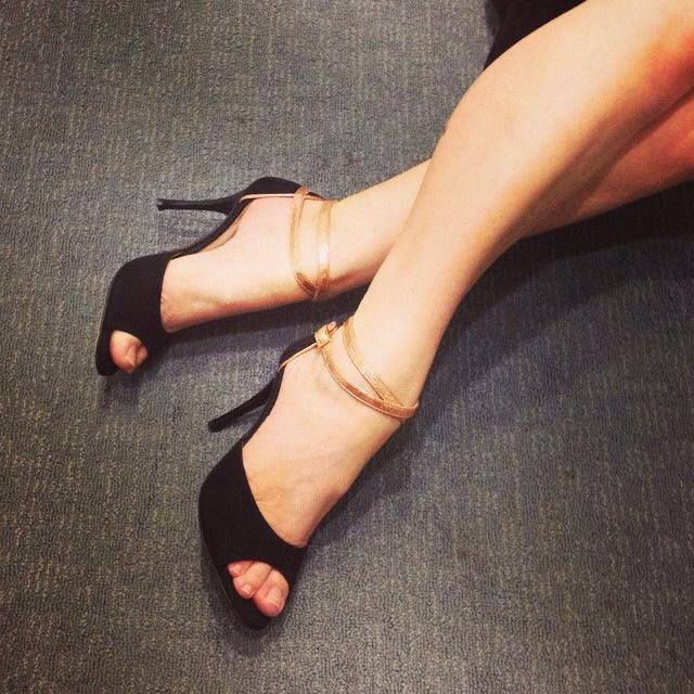 Lilly Double Strap Black Suede and Copper Strap