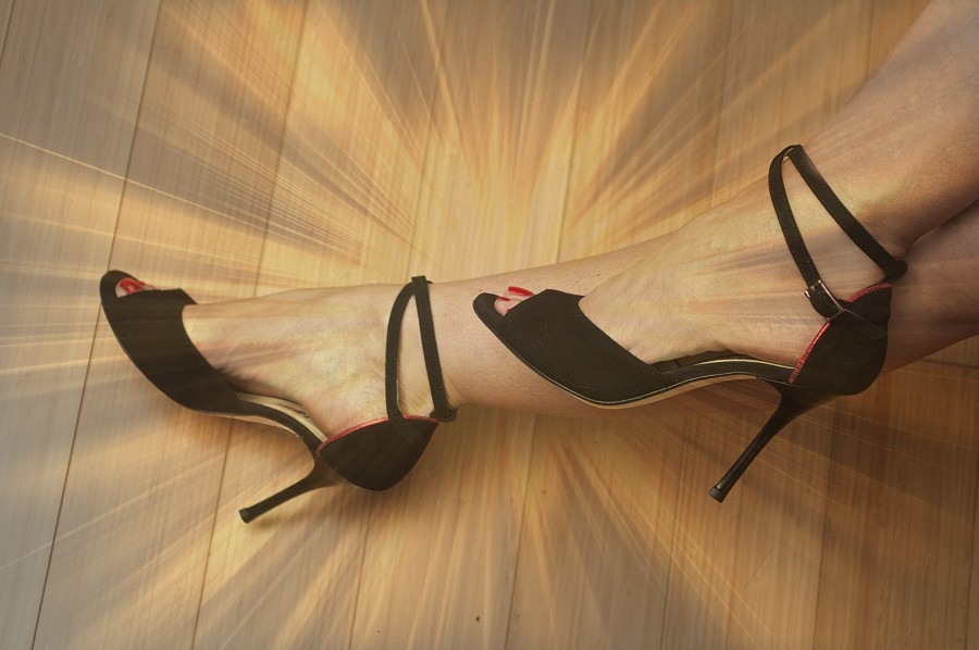 Lily Double Strap Black Suede with Red Piping
