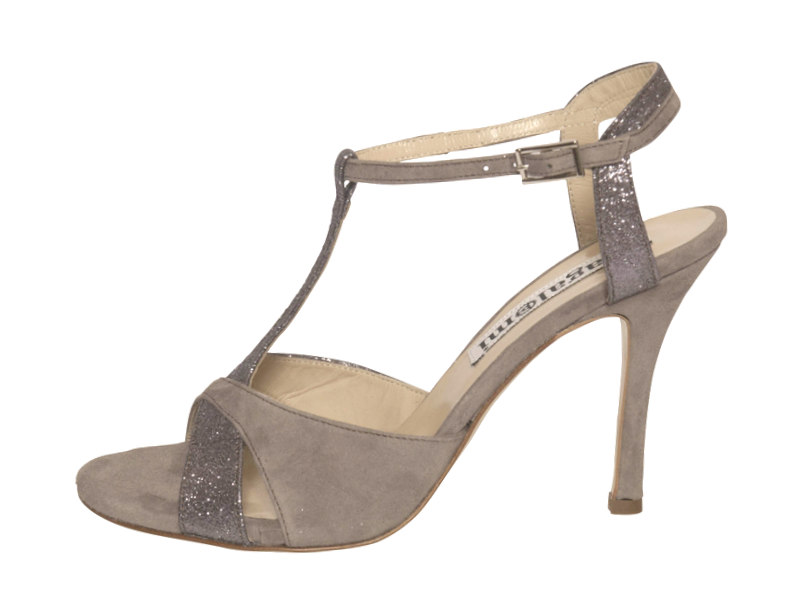 Maleva Mink and Pewter Glitter Combination Leather