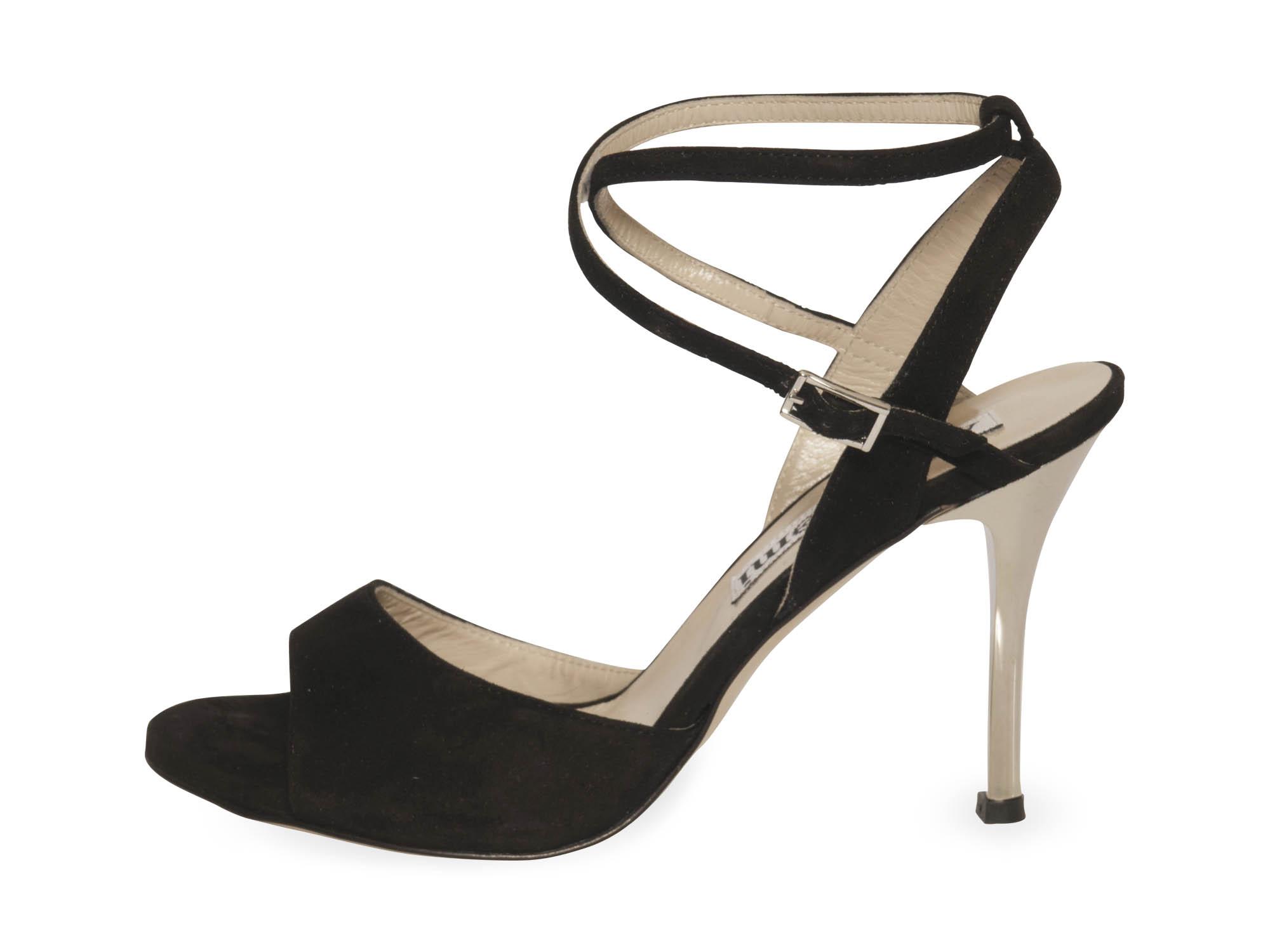 Maia Double Strap Black Suede Silver Heels