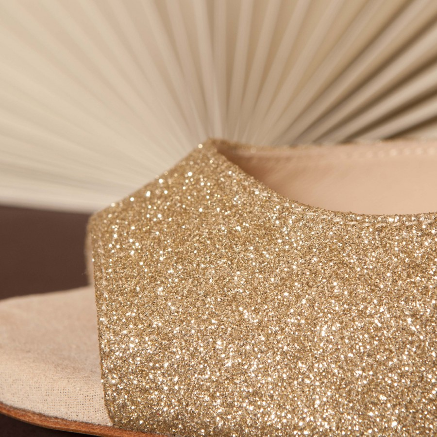Gloria Single Strap Platinum Glitter and Crema
