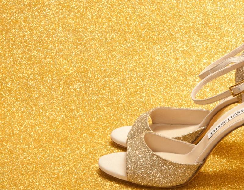 La Maquina Single Strap Platinum Glitter and Crema Leather