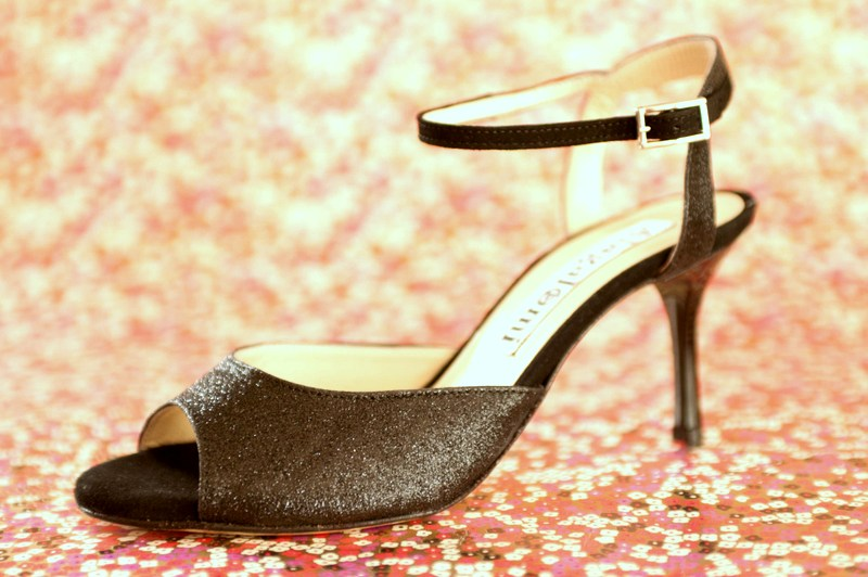 Iris Single Strap Black Glitter and Suede