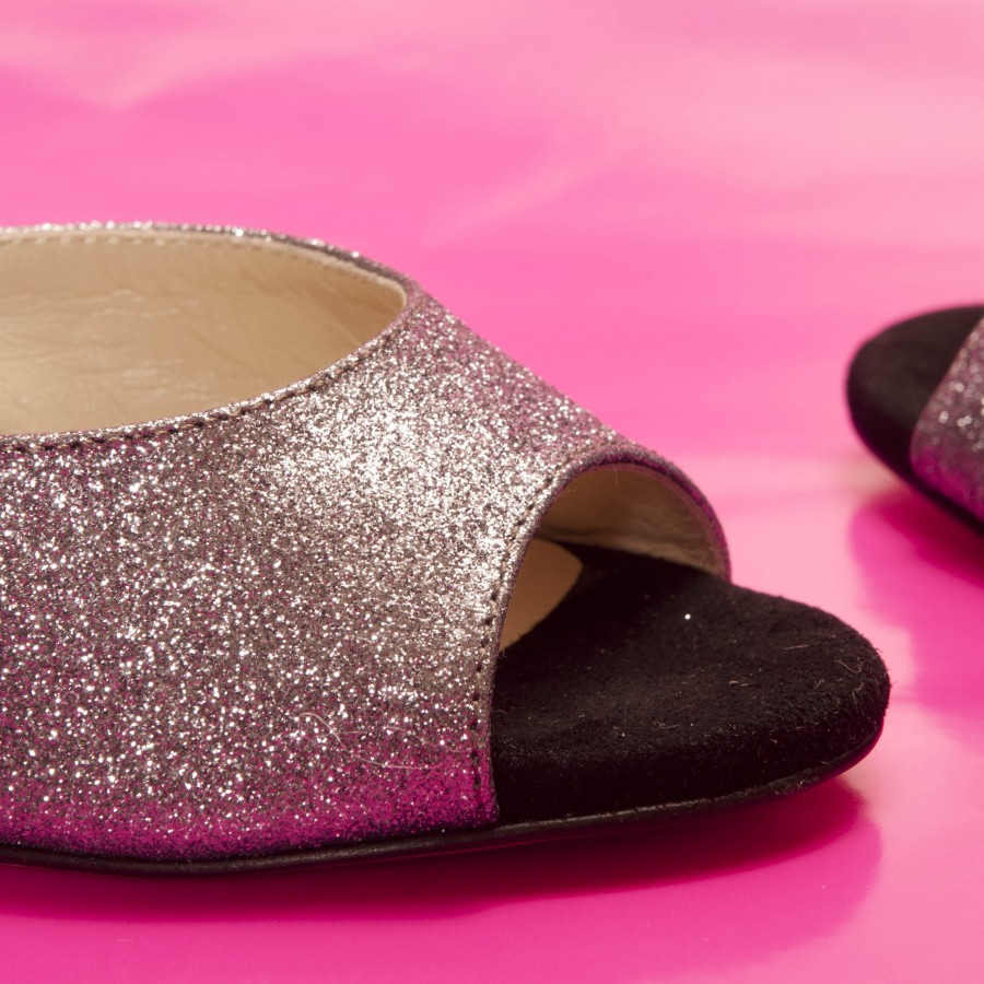 Iris Double Strap Pewter Glitter and Black Suede