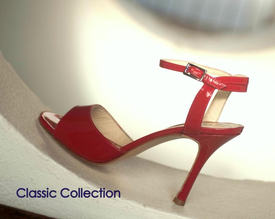 La Maquina Single Strap Red Patent Leather