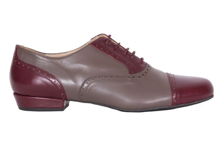Arrabal Taupe and Burgundy Combination Leather