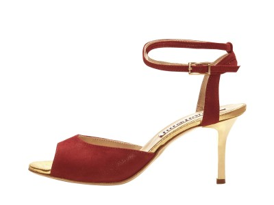 Iris Double Strap Glossy Red and Gold Insole and Heels