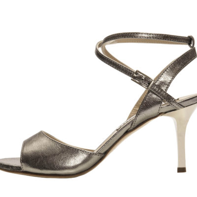 Maia Double Strap Steel Metallic Leather