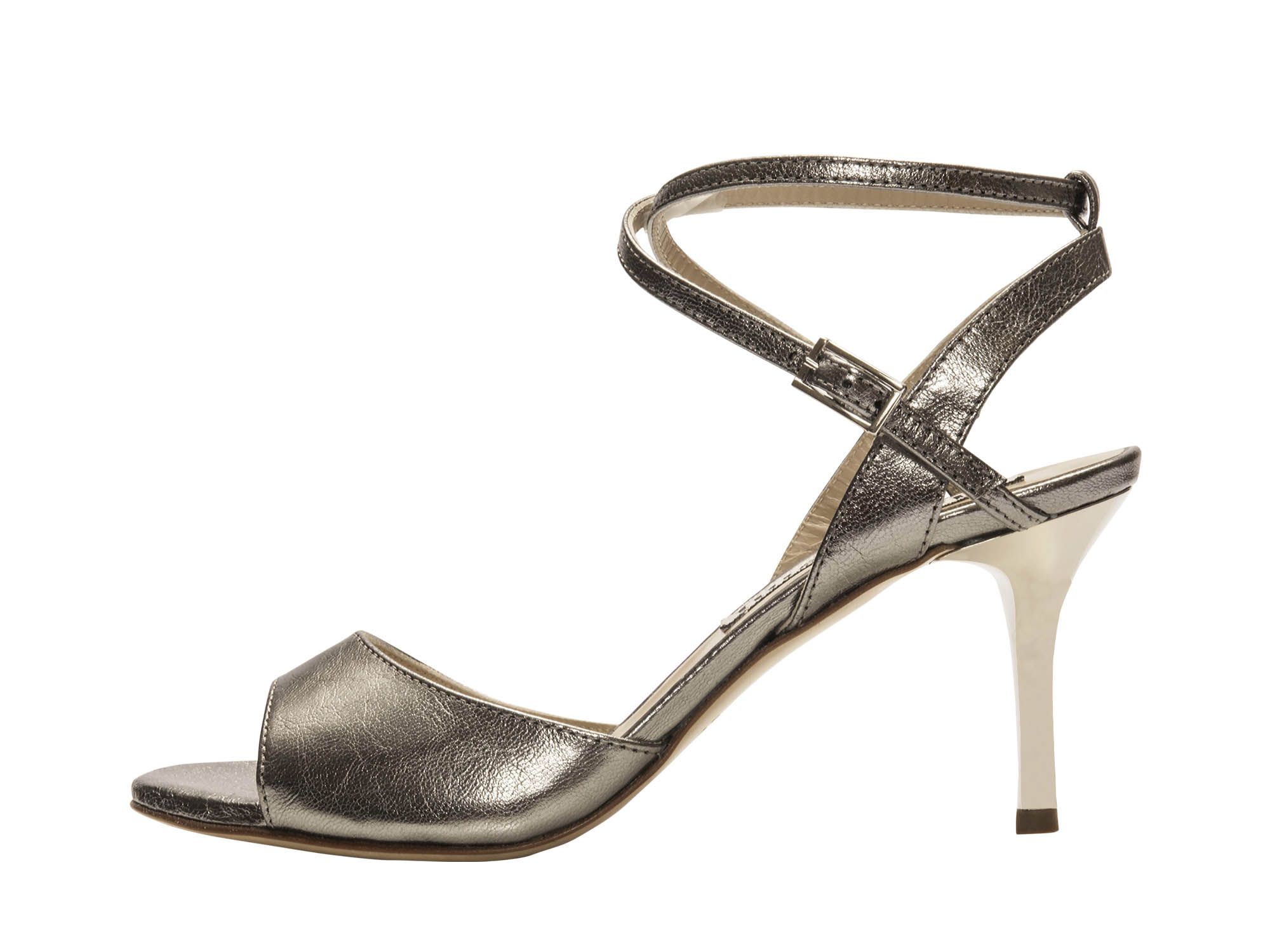 Maia Double Strap Steel Metallic Leather