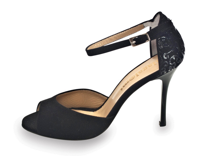 Lily Single Strap Black Black Suede with Paisley Back
