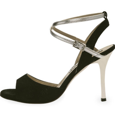 Maia Double Strap Glossy Black and Silver Metallic Leather
