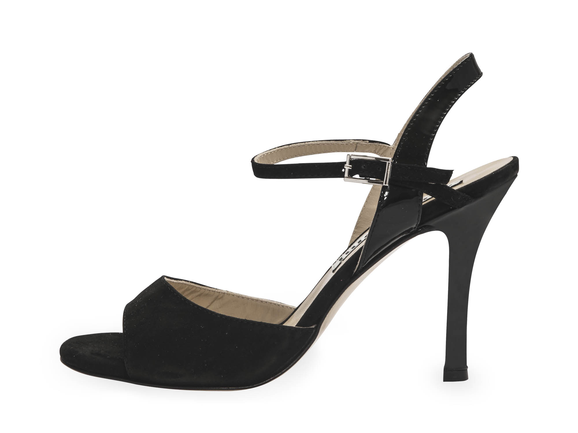 Maia Single Strap Black Suede and Black Patent Leather